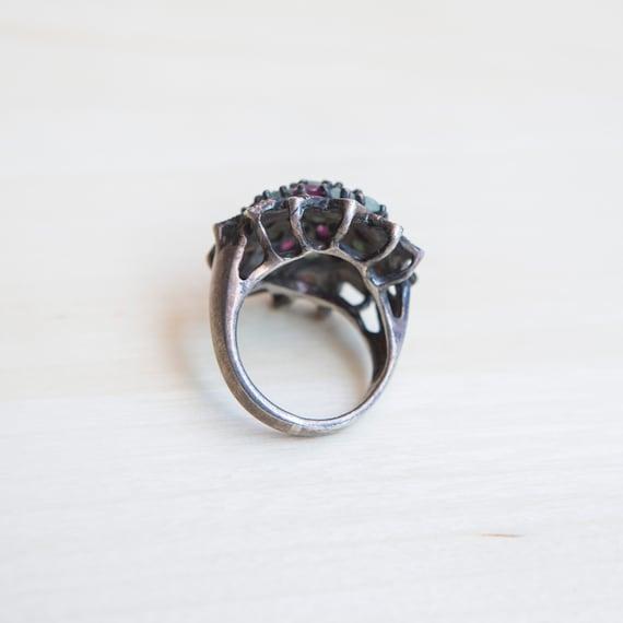 Multi Stone Ring, Ruby Ring, Emerald Ring, Flower… - image 9