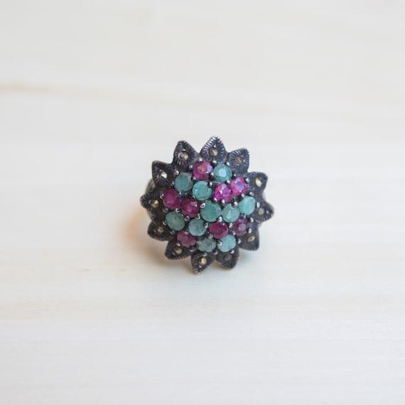 Multi Stone Ring, Ruby Ring, Emerald Ring, Flower… - image 2