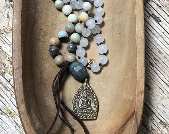 Praying Bead Necklace, BALANCE & CALM, Amazonite and Quartz Mala with Brass Buddha Pendant