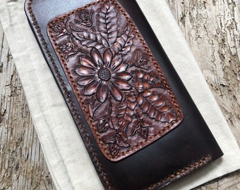 WILDFLOWER, Long Leather Wallet, Tooled Leather Accent