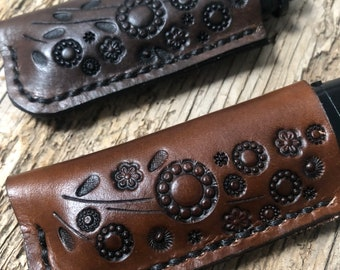 Daisy Meadow, Leather Lighter Case, Leather Lighter Sleeve, Flat Lighter Case, Light Brown or Brown