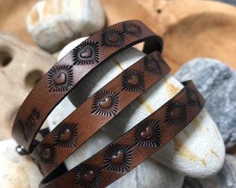 Leather Wrap Bracelet, LOVE with HEARTS, wrap bracelet for women, boho style
