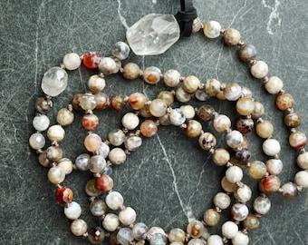 Prayer Bead Necklace, INNER CALM, Agate Mala with Large Quartz Crystal focal bead