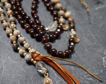 LOVE, Prayer Bead Necklace, Garnet & Feldspar Mala with Walking Buddha Pendant