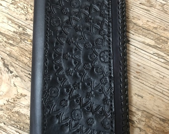 MANDALA, Long Leather Wallet, Tooled Leather Accent, BLACK