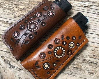 Daisy Meadow, Leather Lighter Case, Leather Lighter Sleeve, Flat Lighter Case, Pink or Cream