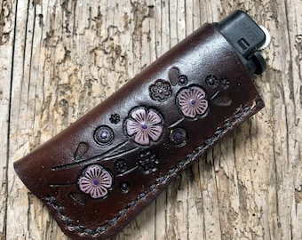 Flower Meadow, Leather Lighter Case, Leather Lighter Sleeve, Flat Lighter Case, Purple Flowers