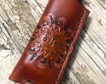 SUN GOD, Leather Lighter Case, Leather Lighter Sleeve, Flat Lighter Case