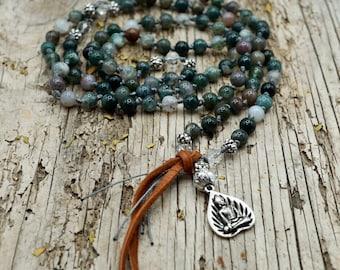 Prayer Bead Necklace, STRENGTH & BALANCE, Fancy Jasper Mala with Buddha Pendant