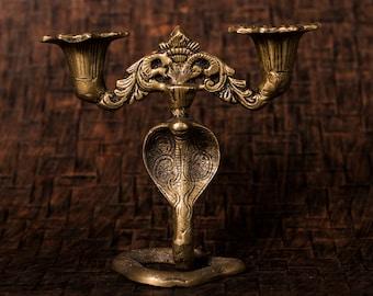 "Brass vintage snake candle holder   Exquisite cobra candle holder   Victorian vintage brass   ""Candle holder on Serpent"""