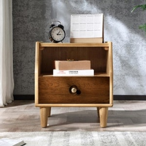 Antique White Top Short wood nightstand with drawer Maple Legs