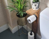 Wooden Metal Toilet Roll Holder and Shelf - Wood Malleable Pipe Rustic Industrial Contemporary Vintage Modern Plant Holder Shelves