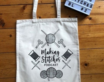 Screen printed cotton canvas project bag featuring Making Stitches Podcast Logo (Black 2)