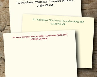 100 Personalised correspondence cards / note cards. Traditional and elegant. Printed on Conqueror  300gsm FREE postage