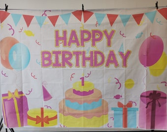 TCReal Cartoon Background Banner Photography Studio Children Birthday Family Party Holiday Celebration Photography Backdrop Cute Home Decoration 6x4ft,chy255