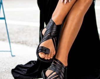 Ankle High Real Leather Sandal Boots, Black Ancient Greek Flat Sandals Rear Zippers, Gladiator Strappy Sandals, Toe Ring Summer Shoes Women