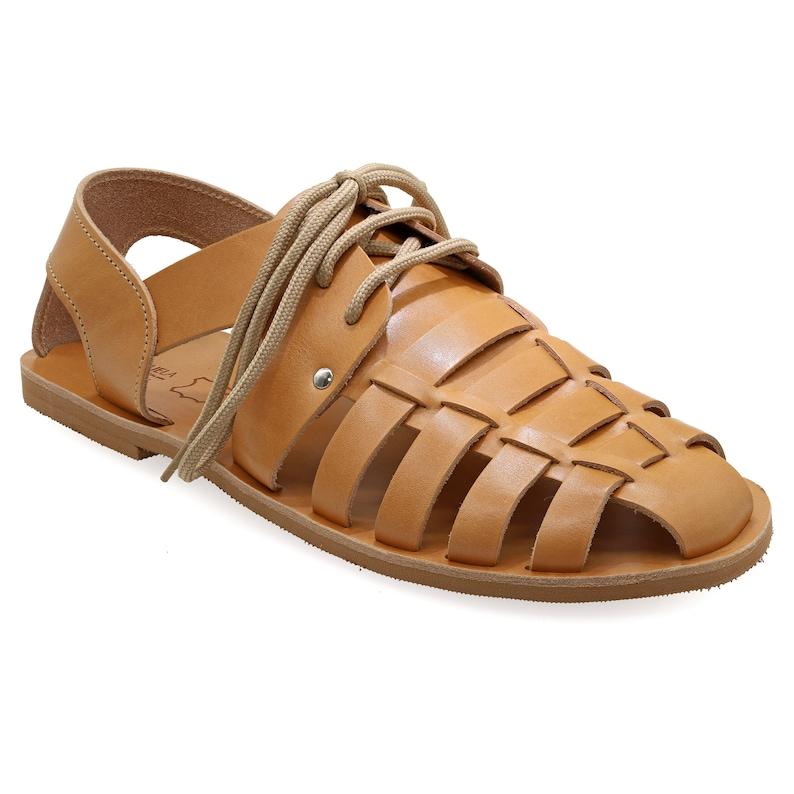 1930s Men's Shoe Styles, Art Deco Era Footwear Black Leather Fisherman Sandals for Men with Laces Greek Summer Shoes for men Tie up Mens Caged Sandals Quality Strappy sandals gift $87.18 AT vintagedancer.com
