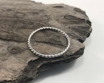 NEW - 925 Sterling silver twisted rope ring - silver ring - braided ring - stackable ring - thin band - knuckle ring