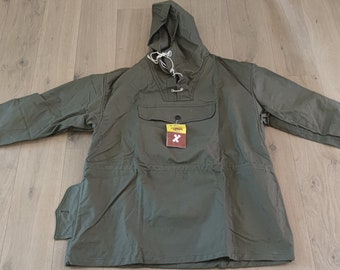 Canvas anorak, Vintage unisex canvas jacket with button, Hunting jacket, Military jacket, Green canvas anorak, Fishing jacket,
