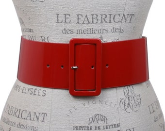 70s 43/'/' Red Pink Antique Cracked Leather Floral Belt for Women