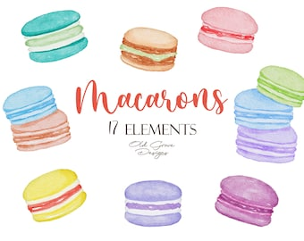 small commercial use macaroons instant download pastry french macaron clip art set of macarons Macarons Clipart Set personal use