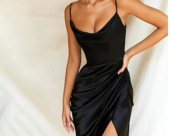 Y2K Black Satin Cowl Neck Low Back Long Fitted Spagetti Strap Maxi dress Size M