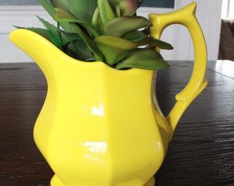 1990/'s Hand Painted Ceramic Yellow Daffodil PitcherYellow Flower Pitcher