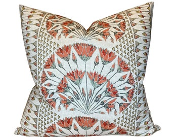 Cairo Pillow Cover in Coral, Designer Pillow Covers, Decorative Pillows