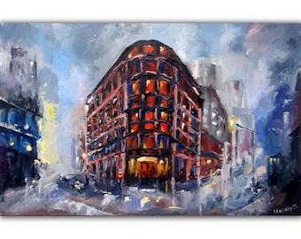 New York City Painting Original Art Night Street Painting 16 by 24 Cityscape Artwork by TallmeArt