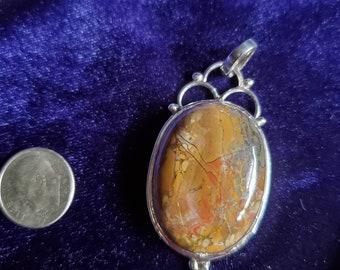 Noreena Jasper Pendant  Natural Noreena Jasper Pendant Size 38x25x5MM Smooth Oval Shape Cabochon Gemstone Pendant