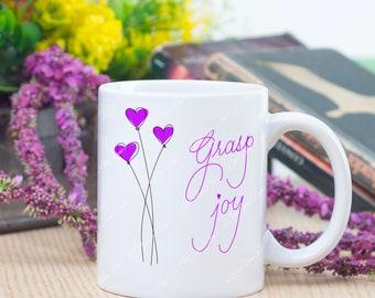 Purple grasp joy balloons coffee mug, nice gift mug for yourself or someone special to bring joy to the morning, purple lover coffee mug
