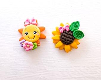 bow dolls polymer clay 10 piece Sunflower Clay doll bundle crafts clay,handmade dolls single Sunflower clay clay center Sunflower clay c