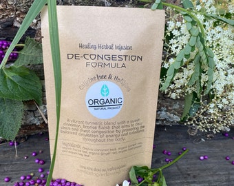 Decongesting Organic herbal tea. Natural cold & flu remedy. Clears sinuses and chest congestion.
