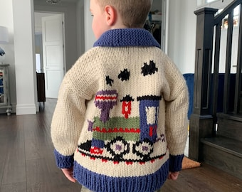Hand Knit Children's Sweaters, hand knit boy's cardigan, multi color sweater, train sweater pattern, toddler size hand knit, kid's clothing