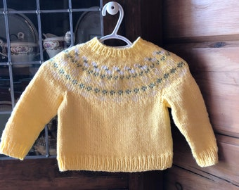 Hand Knit Children's Sweater, Fair Isle Sweater, Baby Shower gift, Hand Knit gift, Baby Girl Sweater, Knitted Pullover, Unisex Hand Knit