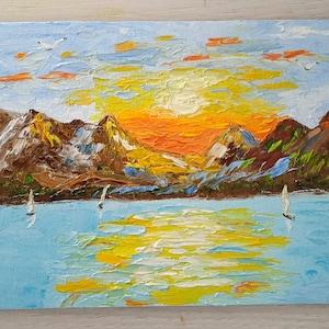 Peinture de plage abstraite Art de mer Peinture à l'huile | Etsy