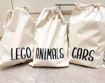 Toy sack organiser , 100% organic Cotton personalised drawstring storage