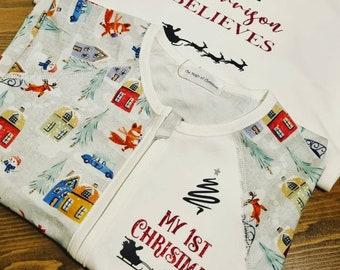 Personalised Christmas pyjamas, family set matching pj set
