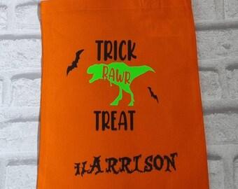Personalised dinosaur trick or treat bag, halloween trick or treat bag, Halloween bag