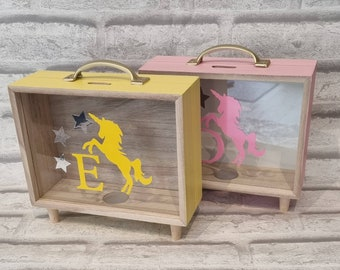 Personalised wooden money box,  savings fund