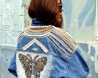 Handmade denim jacket gr.36.  Single copy
