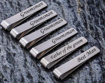 Father of the Bride Best Man set of 3 Father of the Groom silver tie clip engraved tie clip custom tie clip groomsmen tie clip