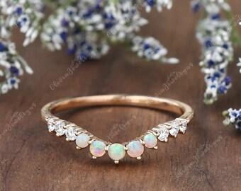 Natural Opal and Diamond Wedding Band Curved Wedding Ring Rose gold Wedding bands Women Art Deco Wedding Band Stacking Ring Custom Ring Gift
