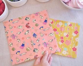 Set of 4 Beeswax Wraps   Reusable Food Wraps   Eco Friendly Gift   Kawaii Cats   Kimono Neko   Japanese Gift   Made in UK   HanaBee