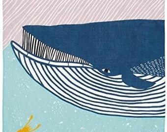 "Blue Whale Furoshiki by kata kata 50 x 50 cm(19.7"" x 19.7"")   Wrapping Cloth   Reusable Gift Wrapping   Japanese Gift   HanaBee"