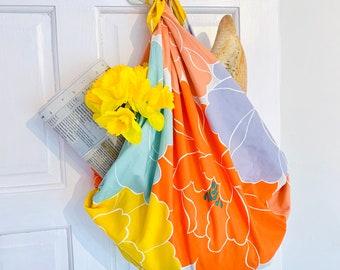 """Large Furoshiki, Peony by Adeline Klam, 100 x 100 cm(39.4"""" x 39.4"""")   Furoshiki Bag   Reusable Gift Wrapping   Japanese Gift   HanaBee"""