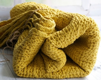 Waffle Linen Bed Throw in Mustard Color. Handmade Soft Living Room and Bedroom Decor Blanket in Sizes up to Queen