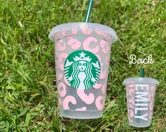 Toddler Cup, Leopard Starbucks Cup, Kids Gift, Stocking Stuffer, Mini Starbucks Cup, Personalized Children's Christmas Gift, Grande Cup