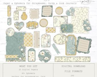 Rustic Floral Junk Journal Ephemera | Digital Papers 8.5 x 11 | Vintage | Ephemera | Tags | Pages