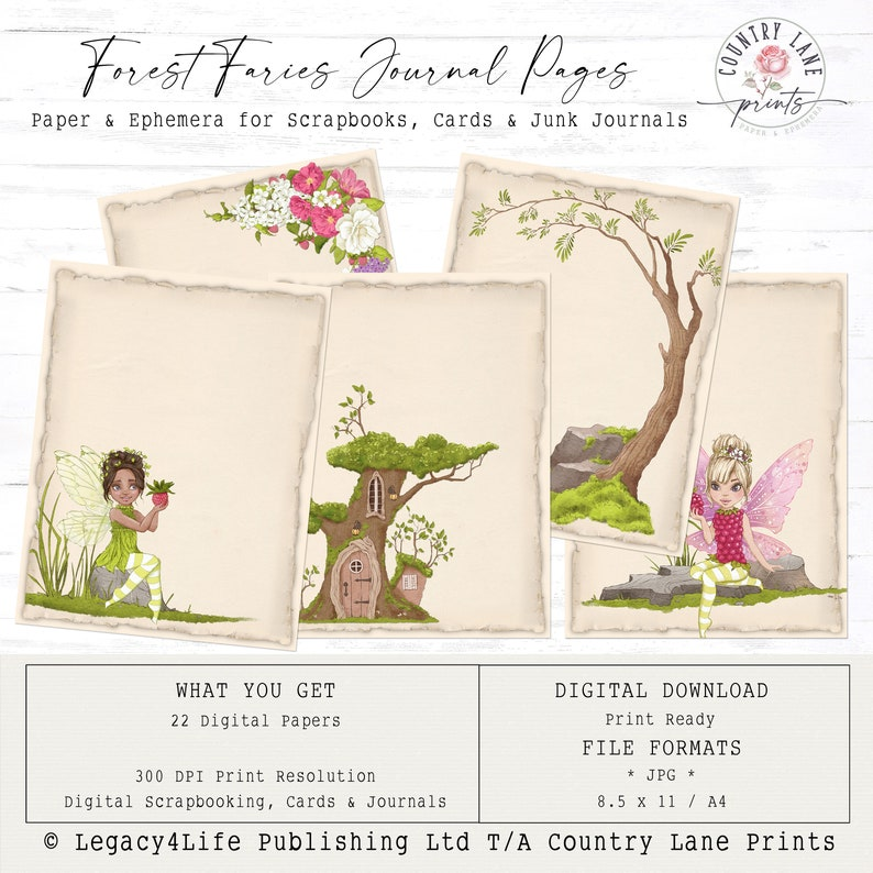 Forest Fairies  Journal Pages  Digital Papers 8.5 x 11  image 0